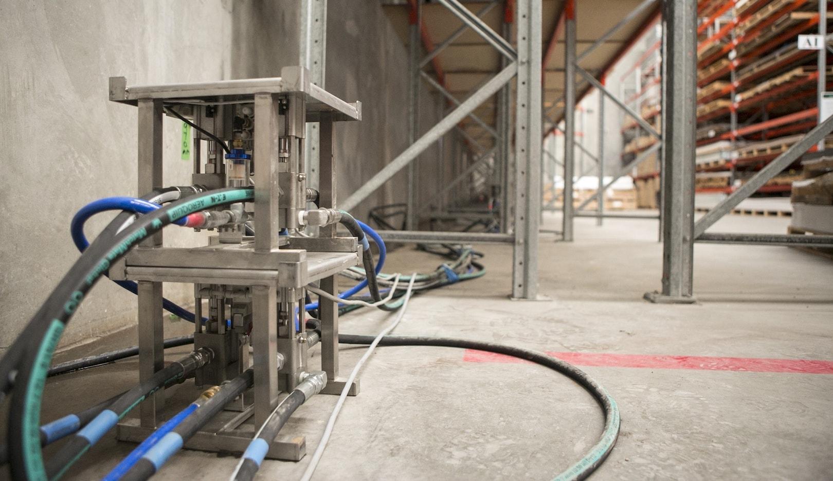 jog inside industrial factory